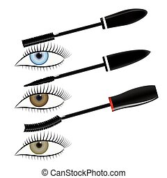 Mascara - Vector illustration of three mascara and eye....