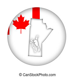 Canada Manitoba state map flag button - Canada state of...