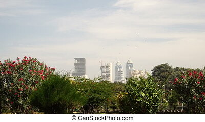 Sight from garden on buildings. - Nice national garden on...