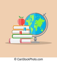 Education concept. Globe, stack of books, apple.