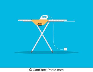 modern iron and orange tshirt on ironing board - White...