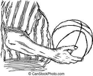 illustration vector doodle hand drawn sketch of closeup referee holding basketball isolated on white background.