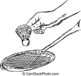 illustration vector doodle hand drawn sketch of closeup hand of closeup hand of sportsman playing badminton isolated on white background