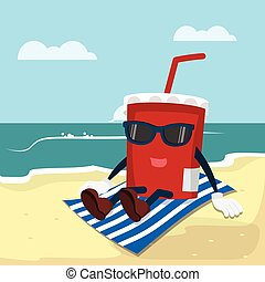 soft drink relaxed on beach