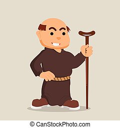 monk with walking stick illustration design