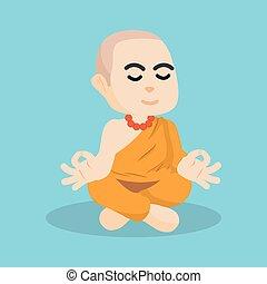 monk hermit illustration design