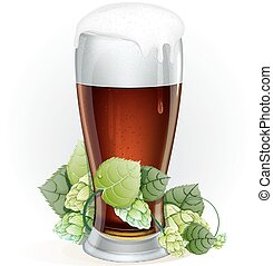 Glass of beer with hop branch