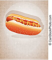 Hot dog with ketchup and mustard on an abstract background