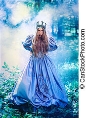 Princess in magic forest - Princess in vintage dress walking...