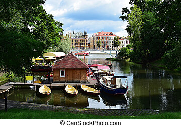 Gondola Bay in Wroclaw with a view of beautiful historic...