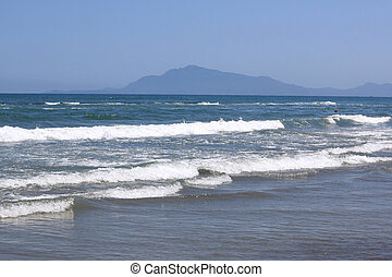 beautiful seascape with fresh cold clear water in summer,...