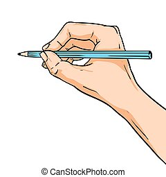 Vector drawing hand with pencil. Illustration in comic style isolated on white