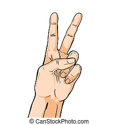 V sign hand. Fingers showing two. Vector illustration in pop art comic style isolated on white
