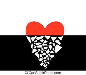 Broken Heart - Vector illustration of a heart half broken