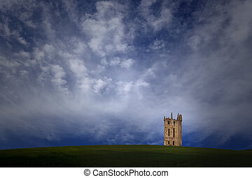 Old tower imaginary landscape - Imaginary landscape with a...