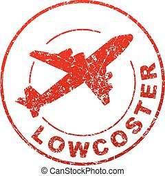 Lowcoster red vector grunge style rubber stamp with silhouette of flying airplane.