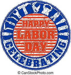Happy labor day celebrating colorful rubber stamp with...