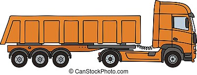 Orange tipper semitrailer - Hand drawing of an orange towing...