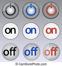 Shutdown button - Vector illustration of buttons on and off.