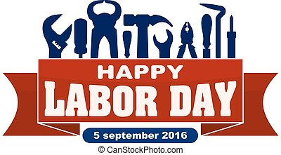 Happy labor day celebrating banner with silhouettes of...