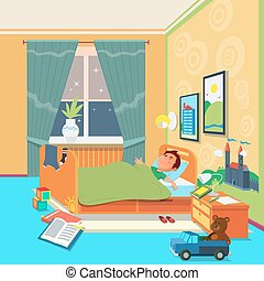 Boy sleep in children room vector illustration