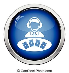 Casino dealer icon. Glossy button design. Vector...