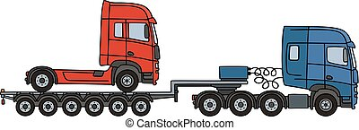 Red truck on a semitrailer - Hand drawing of a blue towing...