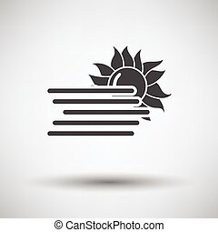 Fog icon on gray background with round shadow Vector...