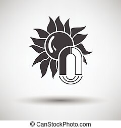 Magnetic storm icon on gray background with round shadow...
