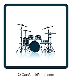 Drum set icon Shadow reflection design Vector illustration...