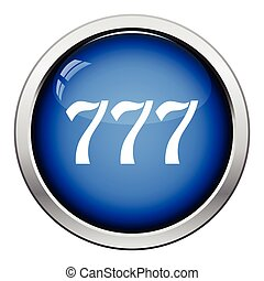777 icon Glossy button design Vector illustration