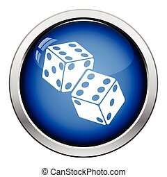 Craps dice icon. Glossy button design. Vector illustration.