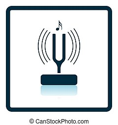 Tuning fork icon. Shadow reflection design. Vector...