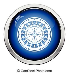 Roulette wheel icon. Glossy button design. Vector...