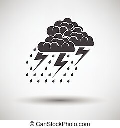 Thunderstorm icon on gray background with round shadow...
