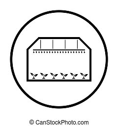 Greenhouse icon. Thin circle design. Vector illustration.