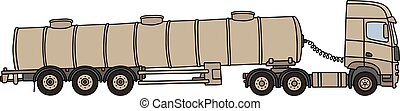 Sand tank semitrailer - Hand drawing of a sand long military...