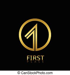 First place icon, golden number one symbol Vector...