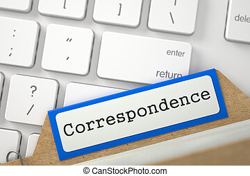 File Card with Correspondence - Correspondence Concept Word...