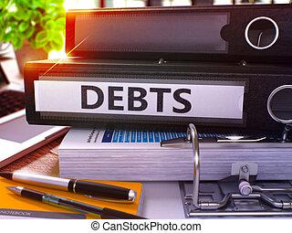 Debts on Black Office Folder. Toned Image. - Debts - Black...