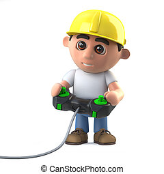 3d Construction worker playing a video game - 3d render of a...