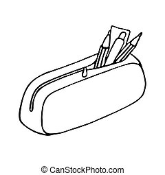 Pencil case icon. Outlined on white background.