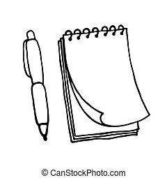 Note pad and pen icons Outlined on white background
