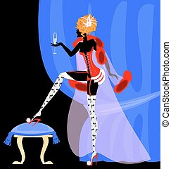 drinking lady in the corset - abstract blue drape and...