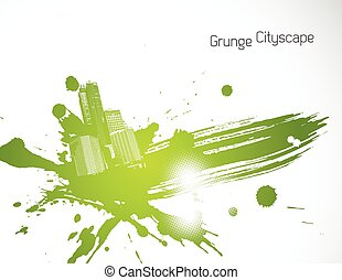 Green abstract brush illustration. Vector art