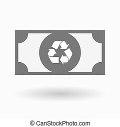 Isolated bank note icon with a recycle sign - Illustration...