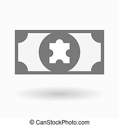 Isolated bank note icon with a puzzle piece - Illustration...