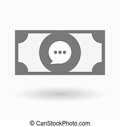 Isolated bank note icon with a comic balloon - Illustration...