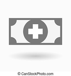 Isolated bank note icon with a pharmacy sign - Illustration...