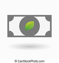 Isolated bank note icon with a green leaf - Illustration of...